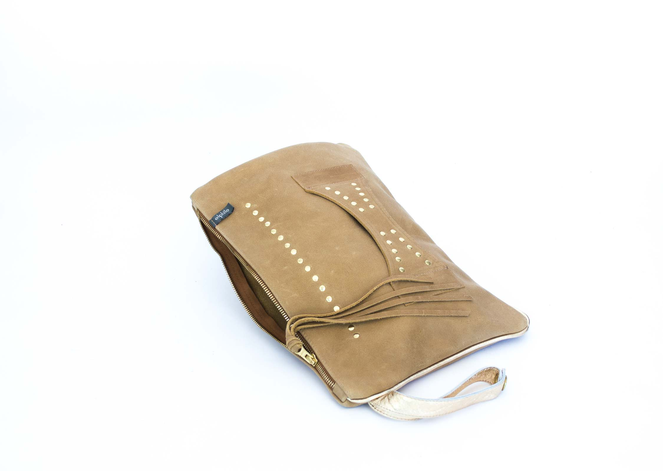 tan large clutch