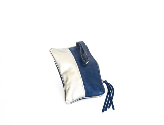 Navy and silver evening pouch handcrafted in genuine leather.