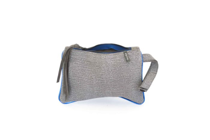 Cute woven textured grey leather bag.