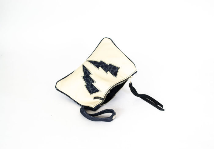 Clutch in Ivory and Blue textured cowhide.