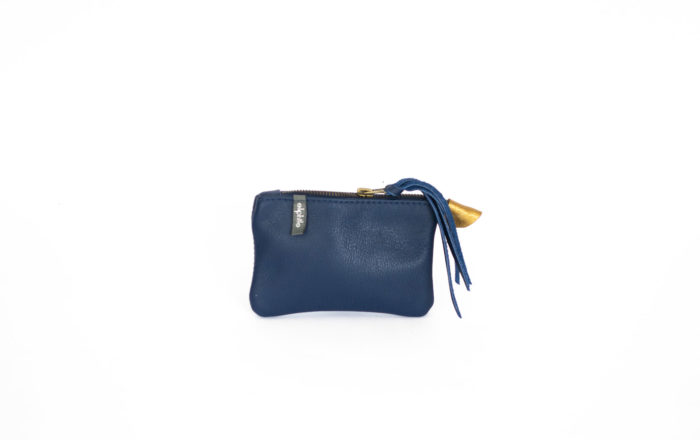 Coin purse in Navy blue genuine leather.