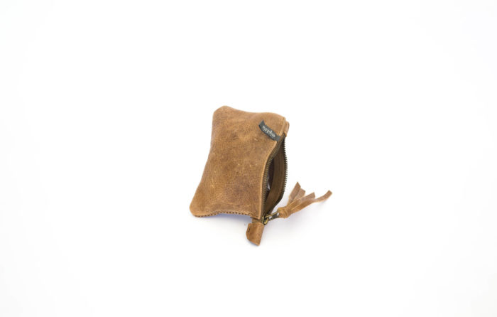 Brown leather change pouch in leather handmade in Texas
