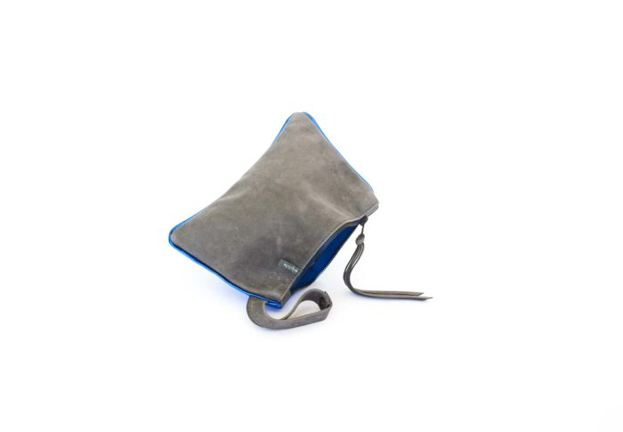 Smoke gray pouch with strap.