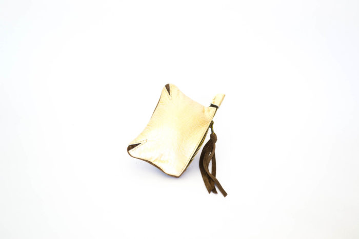 Ivory gold color pouch for change in leather