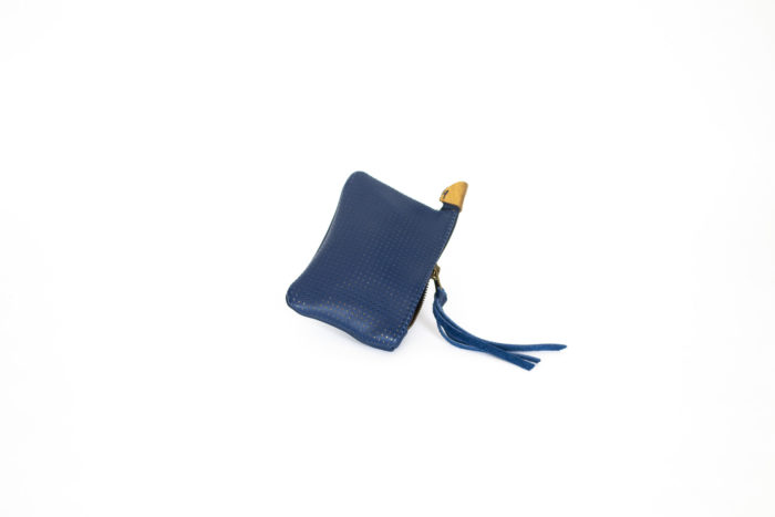 Dark blue leather mini coin pouch.