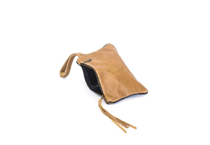 Party bag in genuine leather paisley and tan.