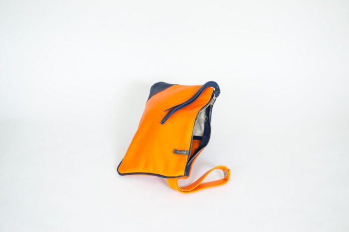 Bright orange and navy evening purse.