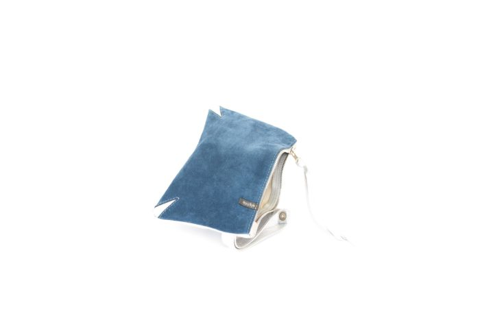 Blue and silver evening bag handmade in Texas