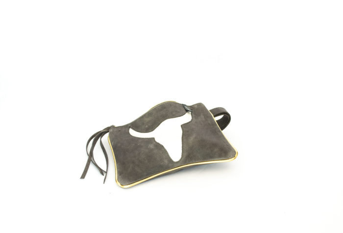 Dark gray genuine cowhide clutch with motif on.