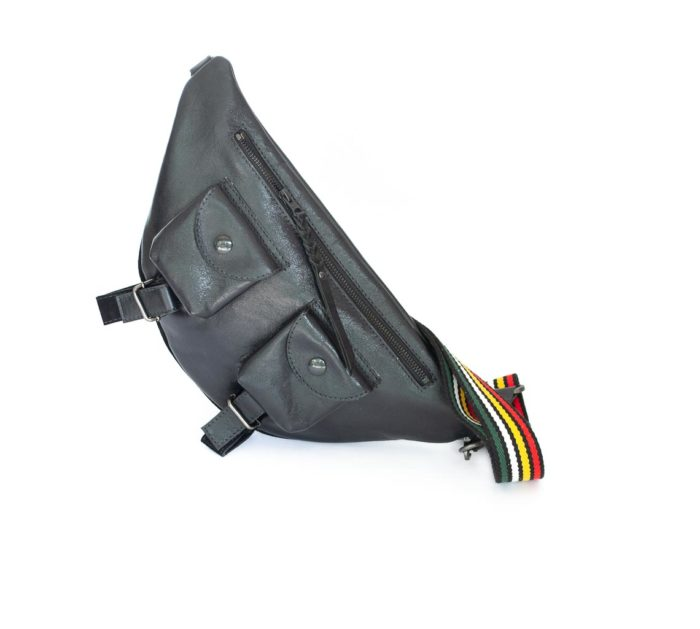 Black fanny pack or shoulder bag with rainbow straps.