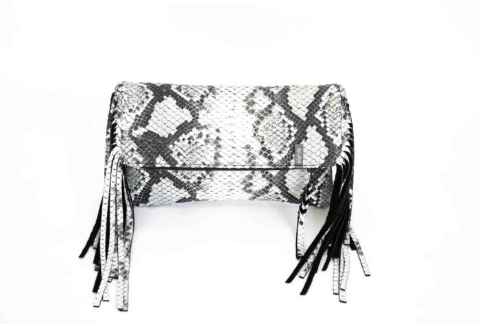Picture of the front of the large python clutch in python print leather.