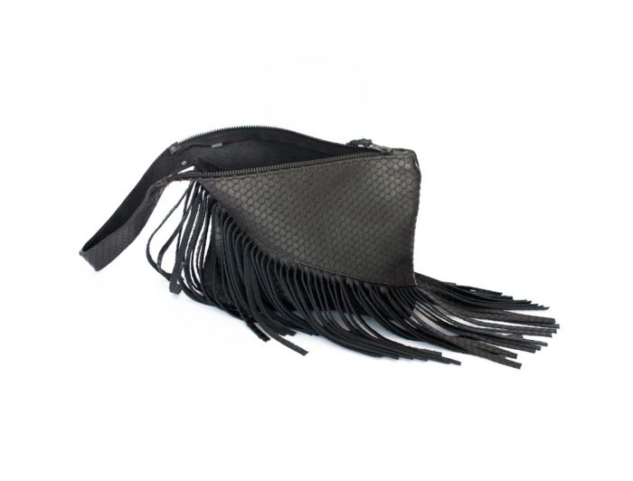 Picture of the open Z clutch with a close-up of the long black fringes.