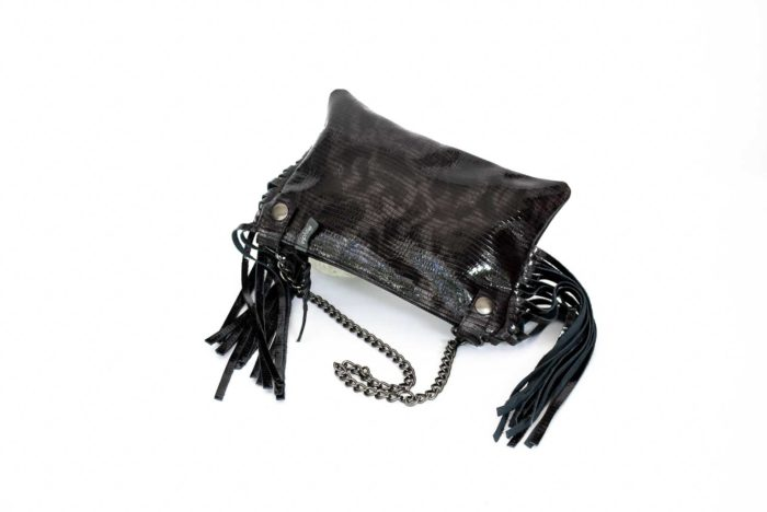 Image of the shiny black chained clutch.