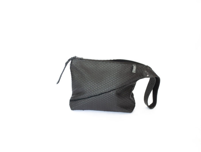 Picture of the asymmetrical black clutch with large wristlet handel.