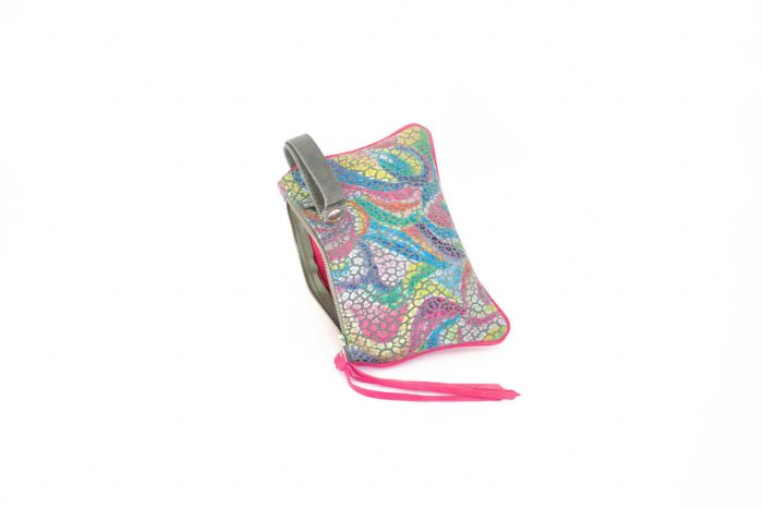 Front of the rainbow leather printed pouch with a grey wristlet.