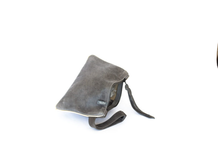 Picture of the front of the dark grey leather purse.