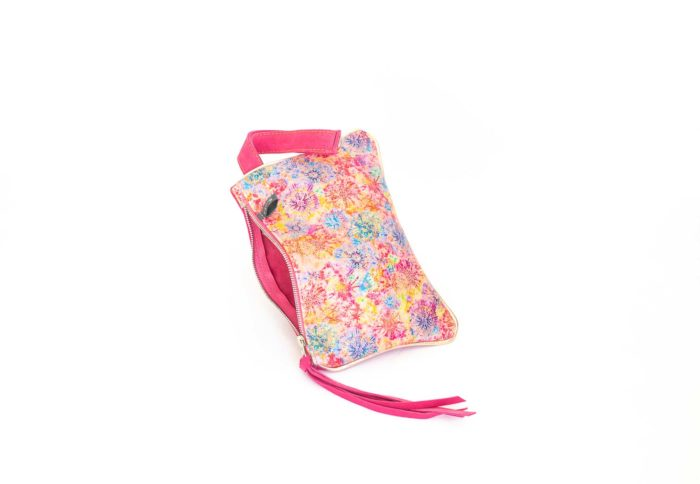 Image of the pink and flowers printed leather coin pouch handmade by elphile.