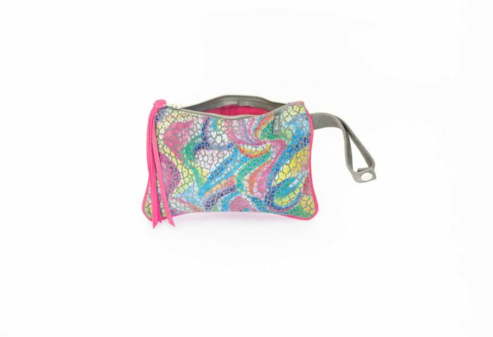 Picture of the front of the rainbow leather printed coin pouch.