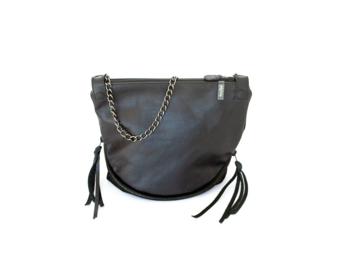 Image of the black and dark chocolate leather Parisian bag with side zippers opened.