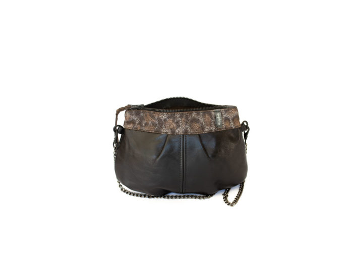 Image of the dark brown and leopard garment pleated bag.
