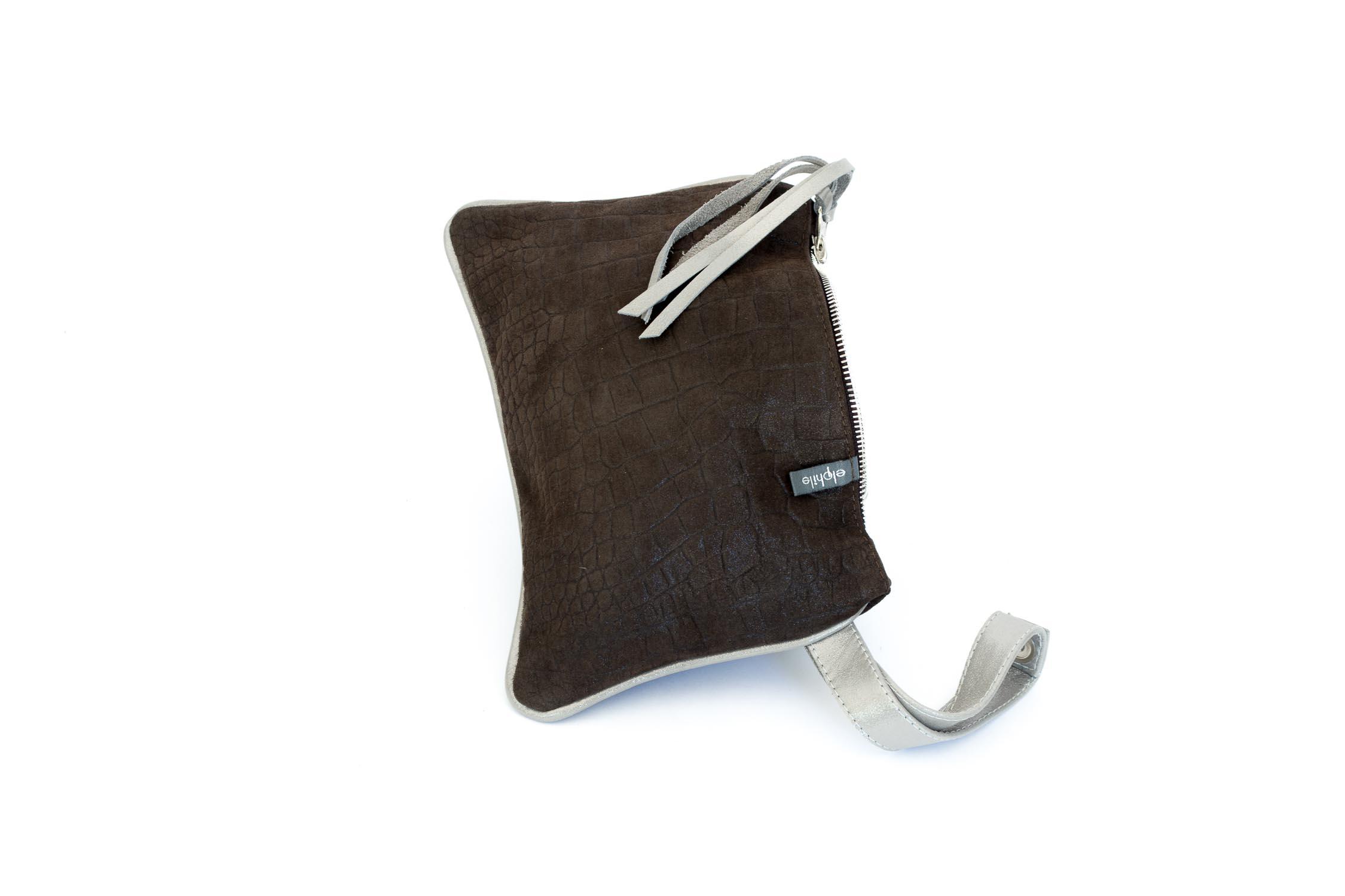 dark chocolate croco effect small clutch with silver strap